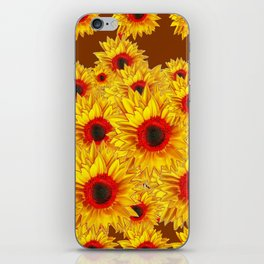 Coffee Brown & Red Centered Yellow Sunflowers iPhone Skin