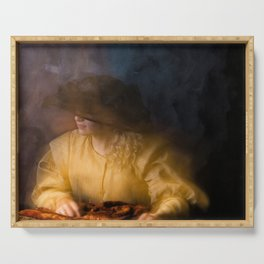 Girl in Rembrandt light Serving Tray