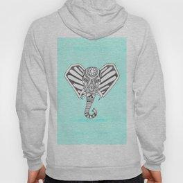 Hand Drawn Bohemian Tangle Elephant Aqua Tie Dye Hoody