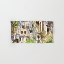 Fethiye Lycian Tombs Watercolor Hand & Bath Towel