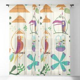 Vintage Modern Tiki Birds Sheer Curtain