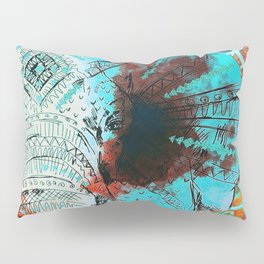 Indian Sketch Elephant Blue Orange Pillow Sham