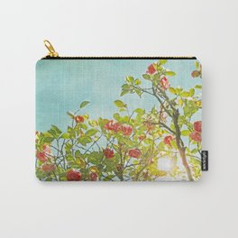 Pink Camellia japonica Blossoms and Sun in Blue Sky Carry-All Pouch