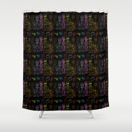 Res Dogs Rainbow Pattern Shower Curtain