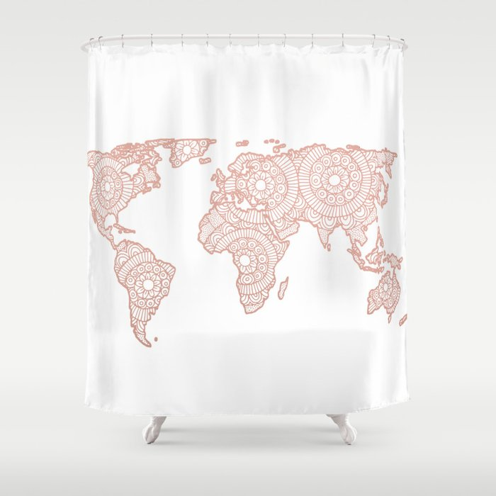Rose gold mandala world map shower curtain by julieerindesigns rose gold mandala world map shower curtain gumiabroncs Choice Image