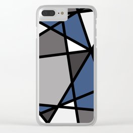 Triangels Geometric Lines blue - grey - white Clear iPhone Case