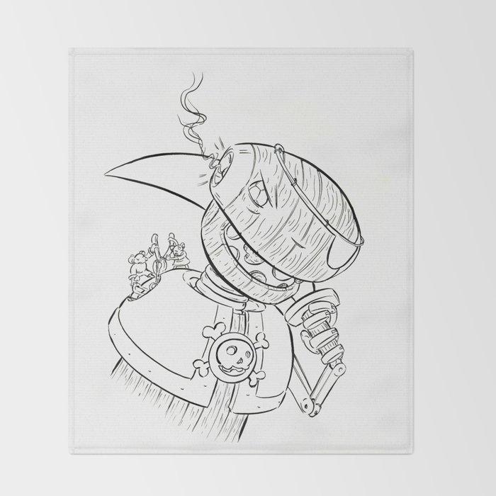 Robot Pirate - ink Throw Blanket
