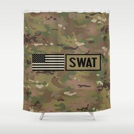 SWAT: Woodland Camouflage Shower Curtain