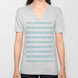 Simply Striped in Succulent Blue and White Unisex V-Neck