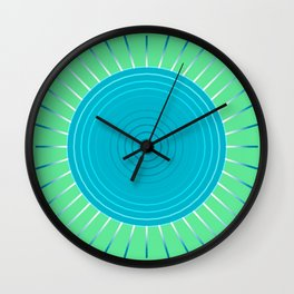 Modern Geometric Sunburst, Blue and Jade Green Wall Clock