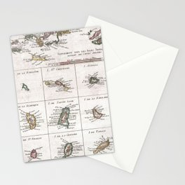 Vintage Islands of The Caribbean Map (1780) Stationery Cards
