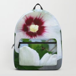 White Hibiscus Flower Ruffle Backpack