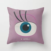 monster inc Throw Pillows featuring Monster, Inc. - Pink (Vintage) by Lemontrend Studio