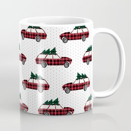Plaid station wagon suv christmas tree vintage inspired christmas pattern Coffee Mug