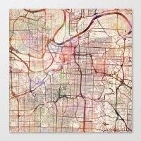 kansas city Canvas Prints featuring Kansas City by MapMapMaps.Watercolors