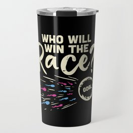 Who Will Win the Race Gender Reveal Baby Shower Funny Pregnancy Announcement Gifts Travel Mug