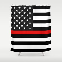 Thin Red Line American Flag Shower Curtain