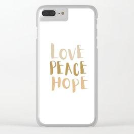 Love, Peace, & Hope Clear iPhone Case