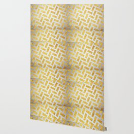 Brick Pattern 1 in Gold and Silver Wallpaper