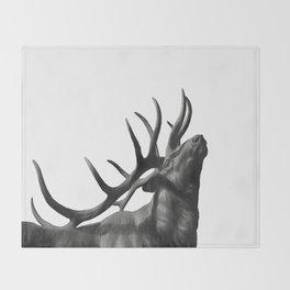 Elk in Black in White Throw Blanket