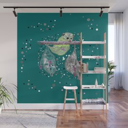 Green possum trio on a branch - Teal Wall Mural