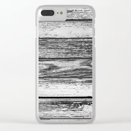 Weathered White Wood Wall Clear iPhone Case