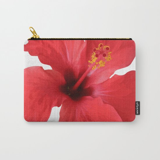 Scarlet Hibiscus Tropical Flower Vector Carry-All Pouch
