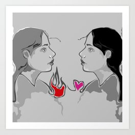 The Girl With Two Hearts Art Print