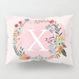 Flower Wreath with Personalized Monogram Initial Letter X on Pink Watercolor Paper Texture Artwork Pillow Sham