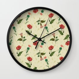 Poppy, thistle and datura flower on a light yellow grassy background. Wall Clock