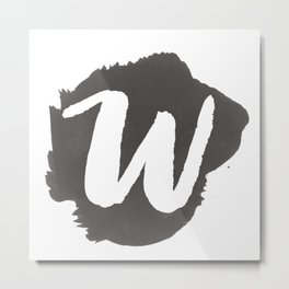 """W"" Monogram, Watercolor Design  Metal Print"