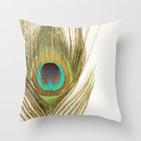 peacock feather Throw Pillows featuring Peacock Feather by Kimberly Blok