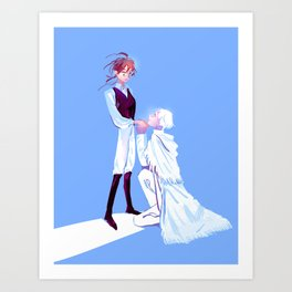 The Hero and her White Horse Art Print