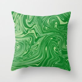 Green pastel abstract marble Throw Pillow