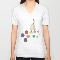 lady V-neck T-shirts featuring Bird Lady by Cassia Beck