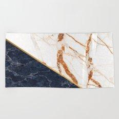 Classy Elegant White Blue Gold Marble Beach Towel