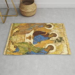 The Holy Trinity By Andrei Rublev Rug