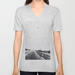 on the road in the rainy day in black and white Unisex V-Neck