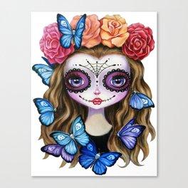 Sugar Skull Butterfly Canvas Print