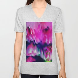 FASCINATE - Glitch - Pink and Blue Unisex V-Neck