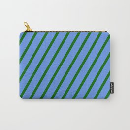 Cornflower Blue & Dark Green Colored Lined Pattern Carry-All Pouch