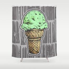 Mint Chocolate Chip Ice Cream Shower Curtain