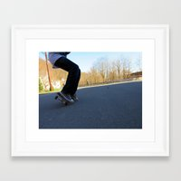 skateboard Framed Art Prints featuring Skateboard by Mechanical Kayla
