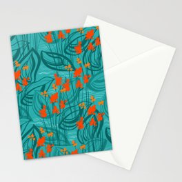 Pattern with red water flowers on turquoise green background Stationery Cards