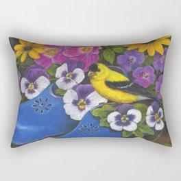 Goldfinch and Blue Garden Clogs Rectangular Pillow