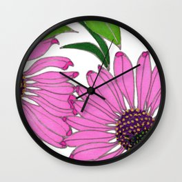 Echinacea by Mali Vargas Wall Clock