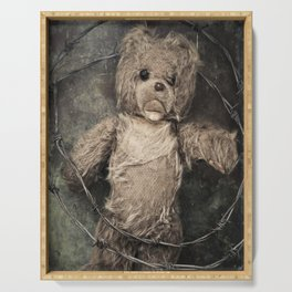 trapped teddy bear Serving Tray