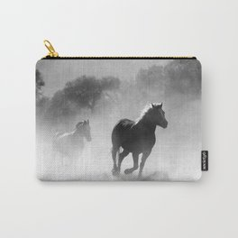 Black and White Running Horses Carry-All Pouch