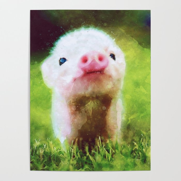 Cute Little Baby Pig Piglet Poster By Misomiso Society6
