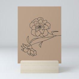 Delicate Floral (Black and Brown) Mini Art Print